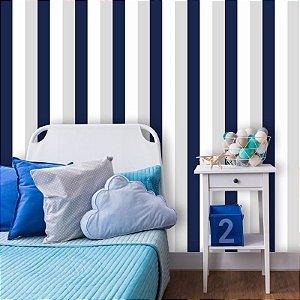 Papel de Parede Listrado, Azul, Branco e Cinza