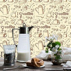 Papel de Parede Cozinha Love Coffee