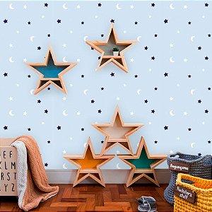 Papel de Parede Baby Lua e Estrelas fundo Azul