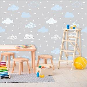 Papel de Parede Infantil Nuvens Cinza, Branco e Azul