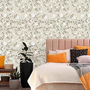 Papel de Parede Floral em Tons de Bege e Branco