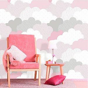 Papel de Parede Baby Nuvens de Algodão Rosa
