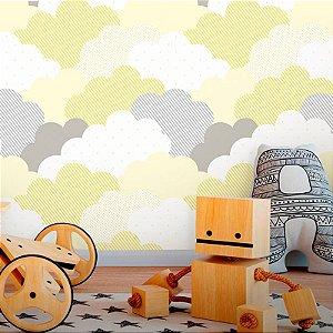 Papel de Parede Baby Nuvens de Algodão Amarelo