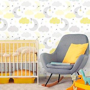 Papel de Parede Baby Nuvens e Lua Cinza e Amarelo