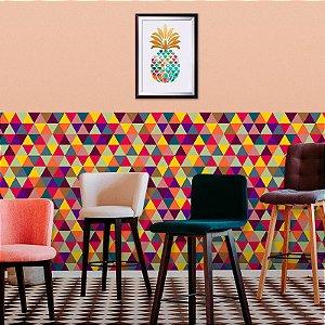 Papel de Parede Geométrico Triângulos Coloridos Luck