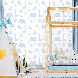 Papel de Parede Baby Safári Branco e Azul
