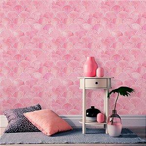 Papel de Parede Geométrico Escamas Rosa
