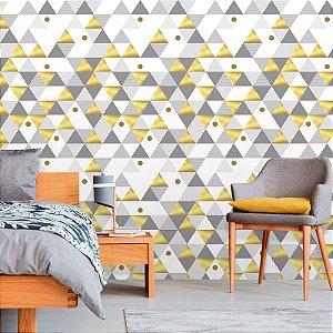 Papel de Parede Geométrico Triângulos Yellow Gold