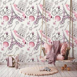 Papel de Parede Teen Paris Pink
