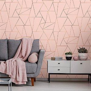 Papel de Parede Geométrico Premium Soft Pink com Rose Gold