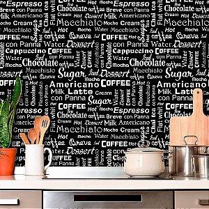 Papel de Parede Para Cozinha Macchiato Preto e Branco