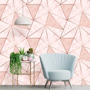Papel de Parede Zara Pink Mármore Rose Gold