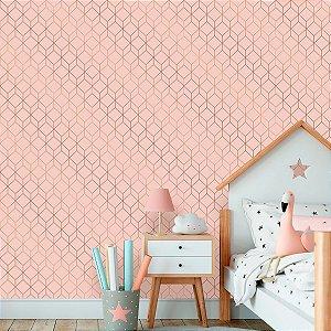 Papel de Parede Geométrico Stylish Soft Pink com Rose
