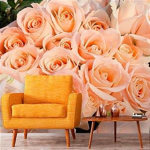 Papel de Parede Personalizado Rosas Salmão