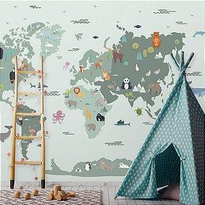 Papel de Parede Personalizado Mapa Safári em tons de Verde