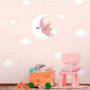 Papel de Parede Personalizado Baby Lua e Nuvens