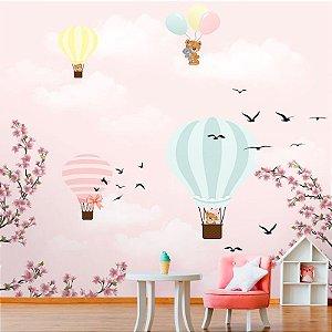 Papel de Parede Personalizado Céu Rosa com Balões