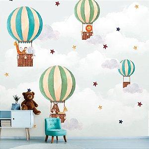 Papel de Parede Personalizado Balões Cute Aquarela