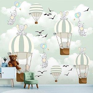 Papel de Parede Personalizado Elefantes com Balões