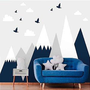 Papel de Parede Personalizado Montanhas Azul, Cinza e Branca