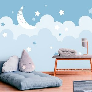 Papel de Parede Personalizado Lua e Estrelas em Azul