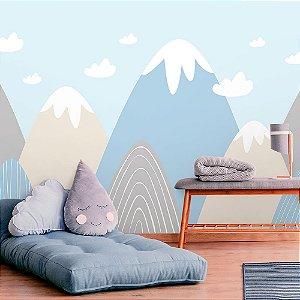 Papel de Parede Personalizado Montanhas em Azul