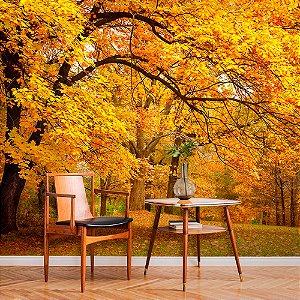 Papel de Parede Personalizado Folhas de Outono