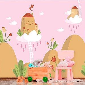 Papel de Parede Personalizado Casa Nas Nuvens Rosa