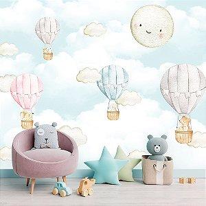 Papel de Parede Personalizado Lua e Balões Cute