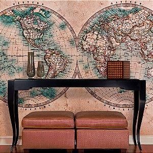 Papel de Parede Personalizado Mapa-Múndi Hemisférios
