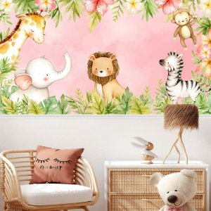 Papel de Parede Personalizado Lovely Safari Pink