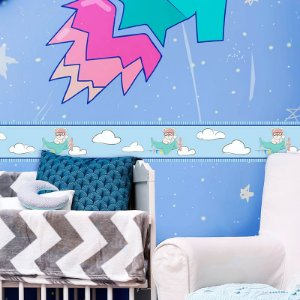 Faixa Decorativa Ursinho Aviador Azul Bebê