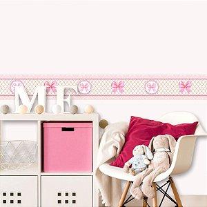 Faixa Decorativa Infantil Laços Rosa