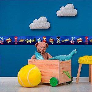 Faixa Decorativa Infantil Super Heróis Cute