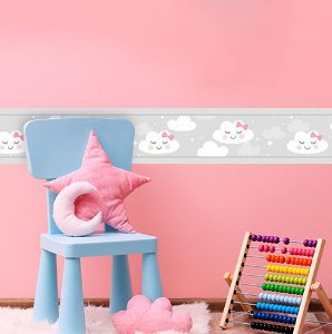 Faixa Decorativa Infantil Nuvens Cinza