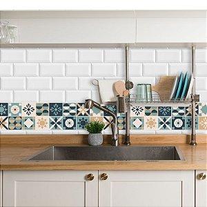 Faixa Decorativa para Cozinha Bege, Azul e Verde
