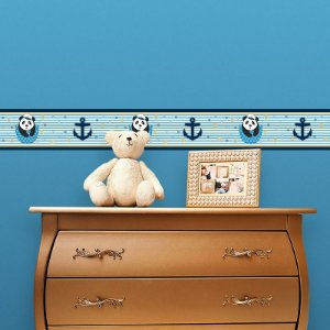 Faixa Decorativa Infantil Ursinho Panda Marinheiro