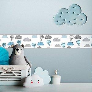 Faixa Decorativa Infantil Balões Cinza e Azul
