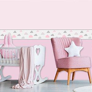 Faixa Decorativa Infantil Nuvens Cute Cinza e Rosa