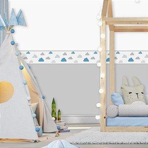 Faixa Decorativa Infantil Nuvens Cute Cinza e Azul