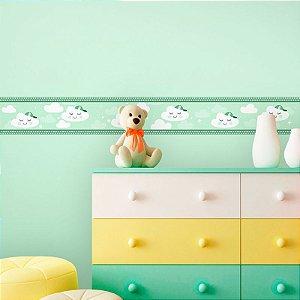 Faixa Decorativa Infantil Nuvens em Tons de Verde