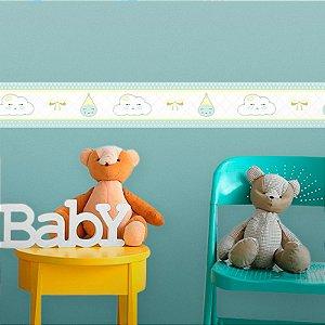 Faixa Decorativa Infantil Nuvens e Gotinhas