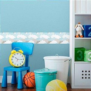 Faixa Decorativa Infantil Nuvens de Algodão Azul Claro
