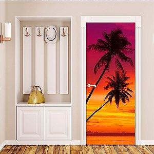 Adesivo Para Porta Pôr Do Sol Tropical