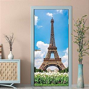 Adesivo Para Porta Torre Eiffel Flowers