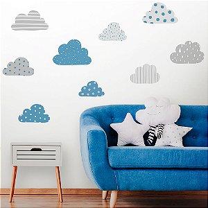 Adesivo de Parede Nuvens Azul e Cinza