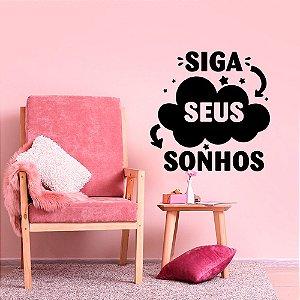 "Adesivo Decorativo Frase ""Siga seus Sonhos"""