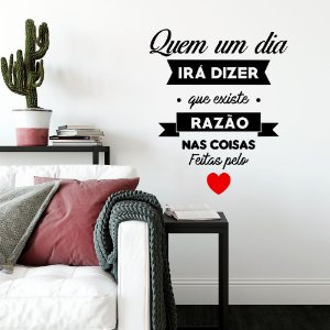 """Adesivo Decorativo Frase """"Coisas feitas pelo Coração"""""""