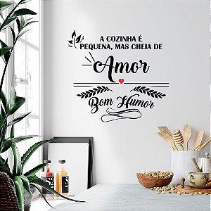 """Adesivo Decorativo Frase """"Cozinha Cheia de Amor"""""""
