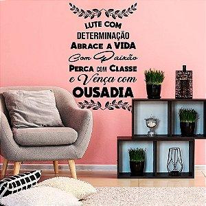 """Adesivo Decorativo Frase """" Determinação, Paixão e Ousadia"""""""